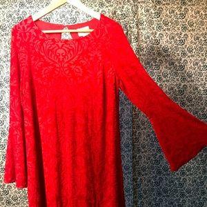 Dress - flocked red